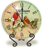 Glass cardinal Clock