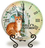 Glass cat Clock