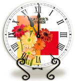 Glass gerbera daisy Clock