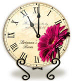 Personalized Pink Gerbera Clock