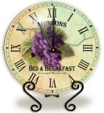 Glass purple grape Clock