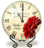 Personalized red gerbera Clock
