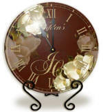 Glass red magnolia Clock