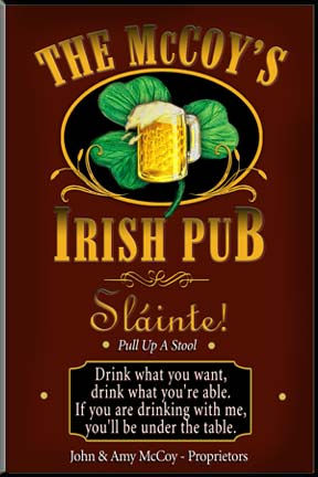 personalized Irish Pub sign, pub signs