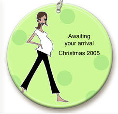 Brunette Maternity Personalized Ornament By Simply Sublime