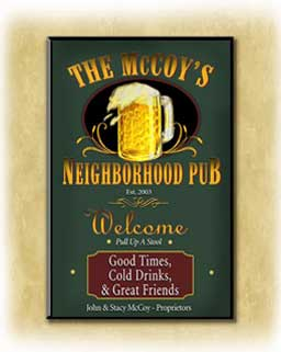 Personalized pub signs, bar signs