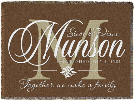 brown monogram personalized woven throw by simply sublime