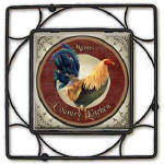 personalized rooster ceramic trivet