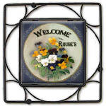 personalized pansy ceramic trivet